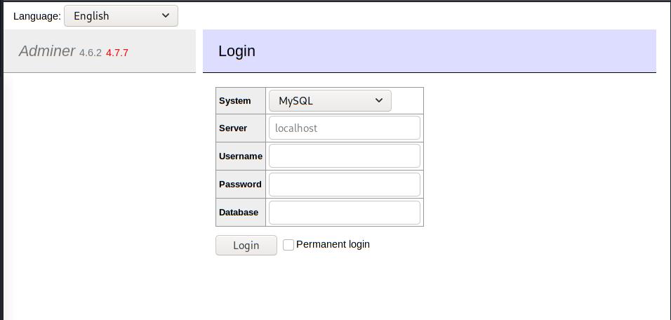 Adminer login form