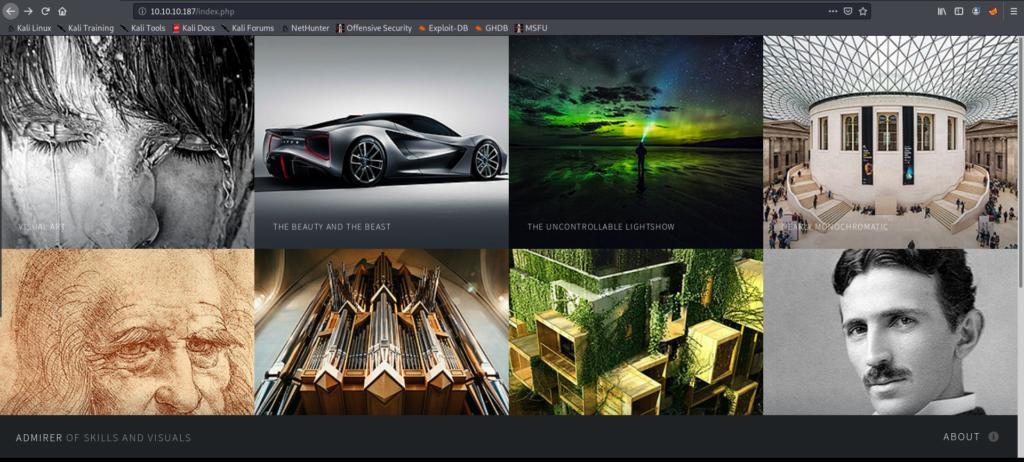 Admirer main webpage